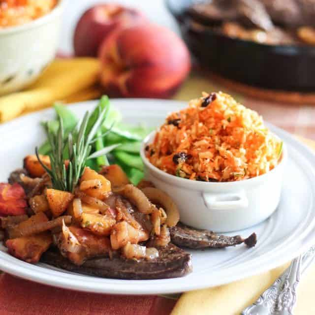 Beef Liver with Caramelized Peaches and Onion Compote