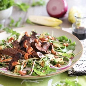 Warm Liver & Toasted Cashew Salad