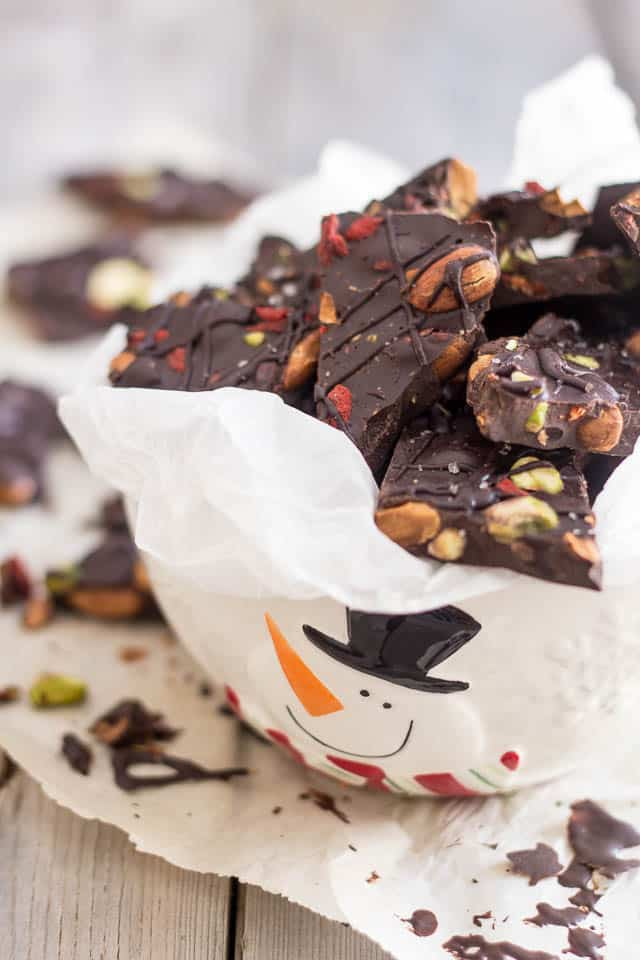 Paleo Dark Chocolate Bark [with Almonds Pistachios and Goji Berries]