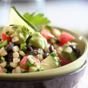 Raw Corn and Black Beans Salad