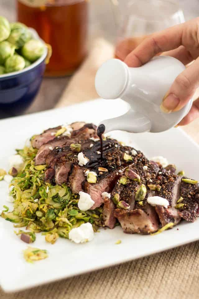 Strip Steak over Shaved Brussels Sprouts | by Sonia! The Healthy Foodie