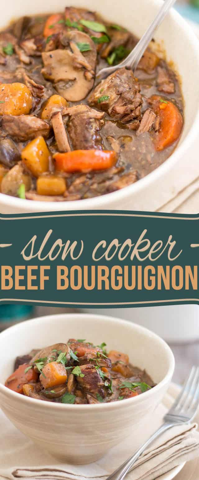 Squeaky Clean Slow Cooker Beef Bourguignon by Sonia! The Healthy Foodie | recipe on thehealthyfoodie.com