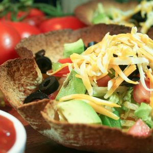 Taco Style Salad in a Tortilla Bowl