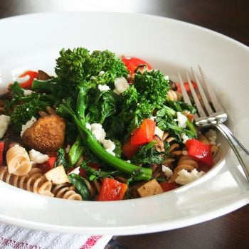 Super Quick Rapini and Red Bell Pepper Fusilli