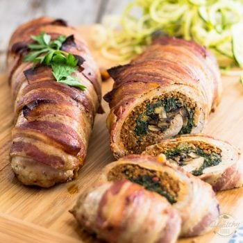 Spinach and Italian Sausage Stuffed Pork Tenderloin (pssssst… it's wrapped in bacon, too!)