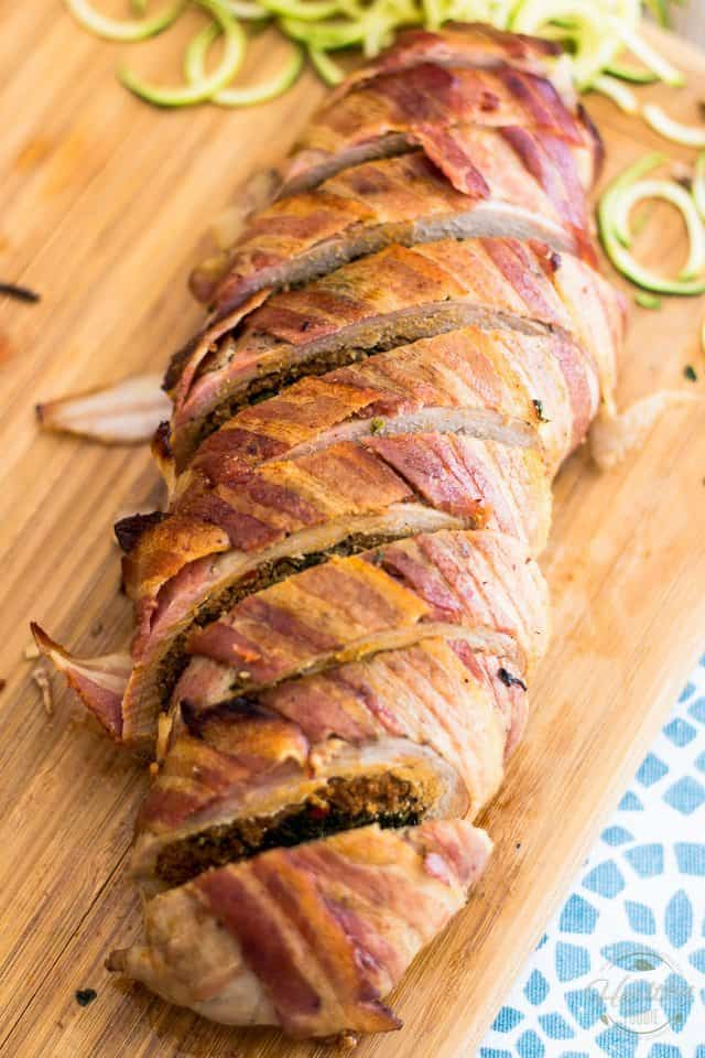 Bacon Wrapped Stuffed Pork Tenderloin | thehealthyfoodie.com