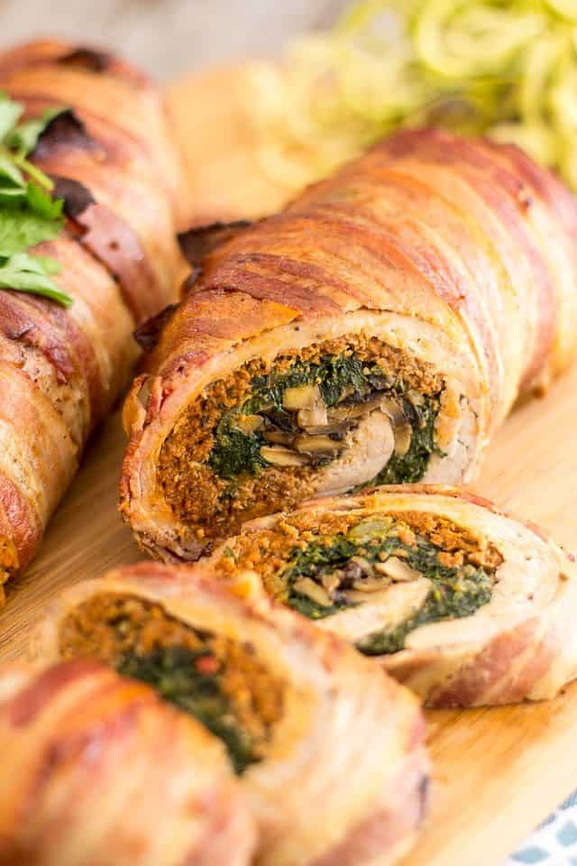 Spinach and Italian Sausage Stuffed Pork Tenderloin | thehealthyfoodie.com