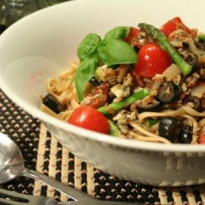 Tomato, Clam, Olive and Asparagus Linguini