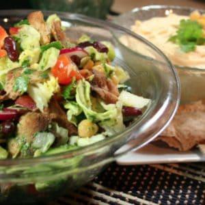 Hummus and Fattoush Salad