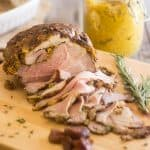 Apricot Mustard Rosemary Pork Roast | thehealthyfoodie.com