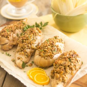 Blue Cheese Stuffed, Walnut Crusted Chicken Breasts