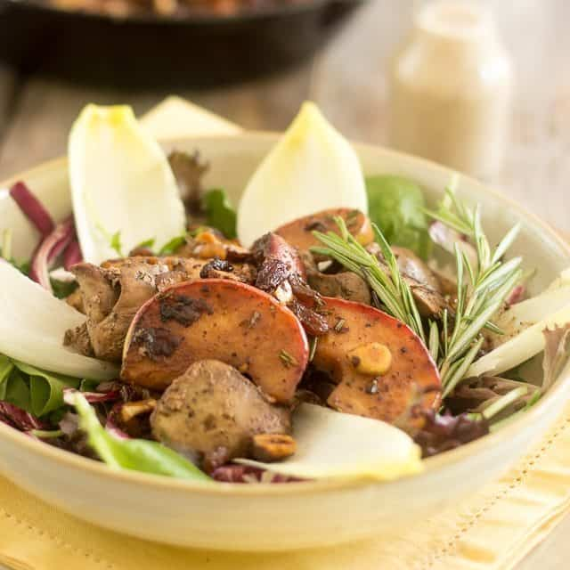Warm Chicken Liver and Apple Salad
