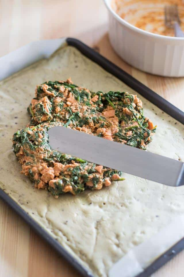 Spinach and Salmon Baked Omelet Roll   thehealthyfoodie.com