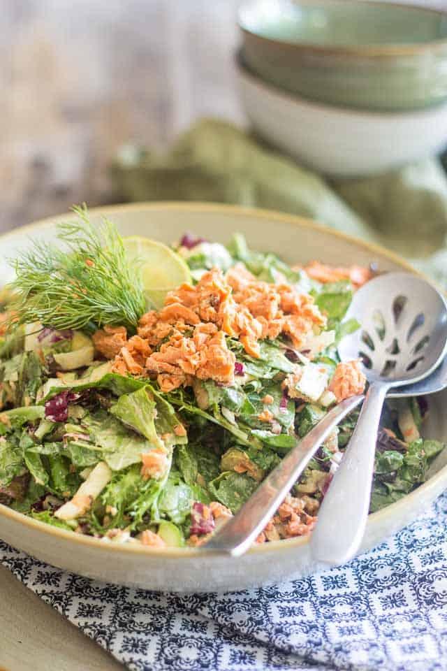 Keto Salmon Salad | thehealthyfoodie.co