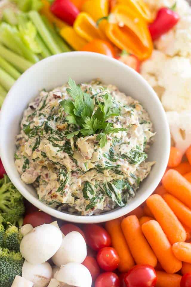 Olive Artichoke and Spinach Dip   thehealthyfoodie.com