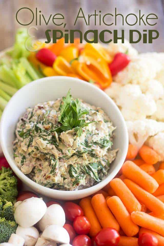 Olive Artichoke and Spinach Dip | thehealthyfoodie.com