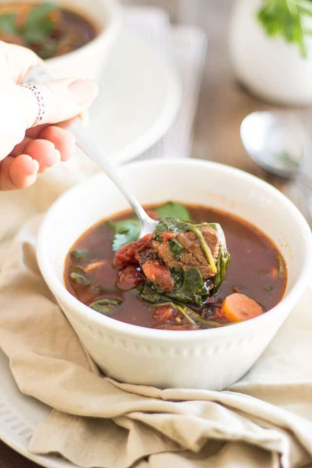 Beef and Vegetable Soup | thehealthyfoodie.com