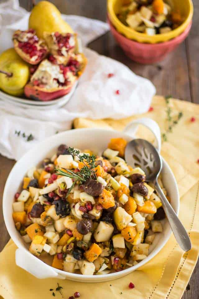 Butternut Squash Pear Chestnut Salad | thehealthyfoodie.com