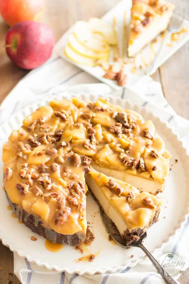 Maple Caramel Apple Cheesecake | thehealthyfoodie.com
