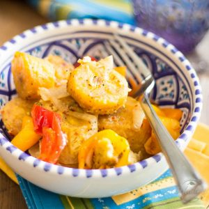 Baked Plantains and Sweet Peppers