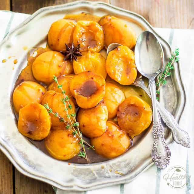 Poached Apricots in Spice White Tea and Honey