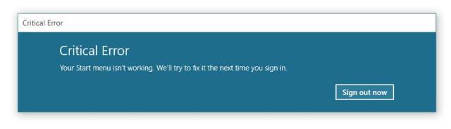Windows10 Critical Error