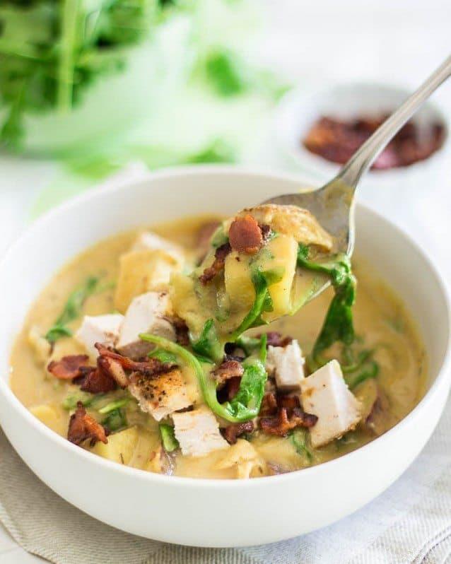 Cauliflower Chicken Chowder | thehealthyfoodie.com