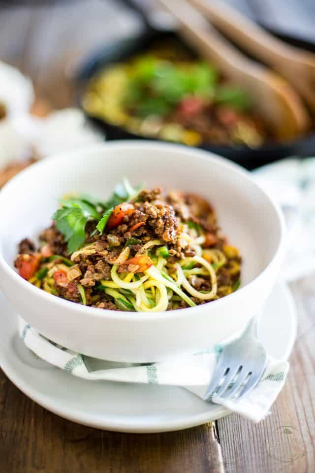 Ground Beef over Zoodles | thehealthyfoodie.com