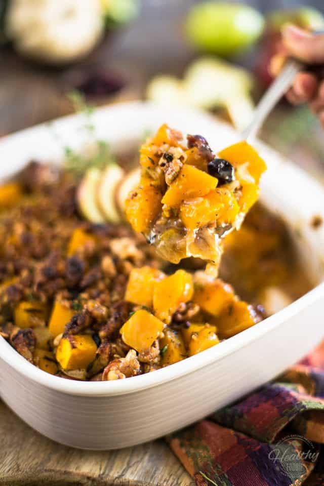 Butternut Squash and Apple Casserole with Maple Walnut Crumble