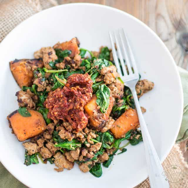 Bowl Food! Ground Beef with Sweet Potatoes and Spinach