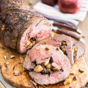 Apple Date Pistachios Stuffed Lamb Roast