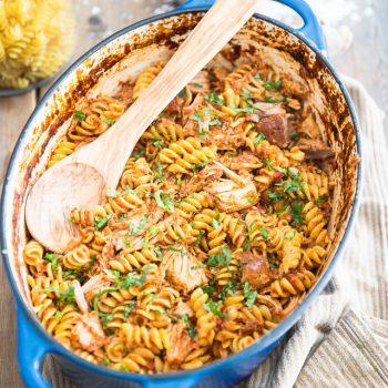 Braised Pork & Tomato Rotini Casserole