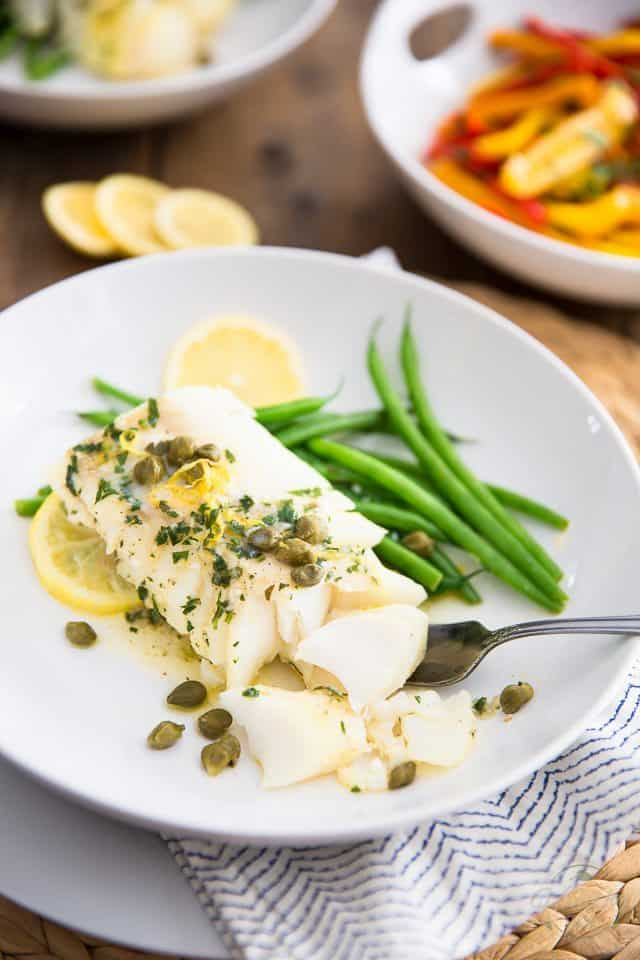 Easy lemon caper baked cod the healthy foodie for Easy cod fish recipes