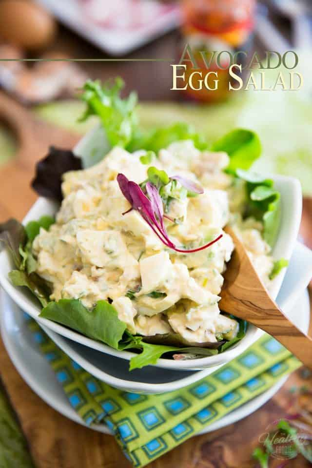 Hard boiled eggs and avocados are brilliantly brought together by yogurt and sour cream in this easy and delicious Avocado Egg Salad. Enjoy it as is or turn it into a nutritious sandwich!