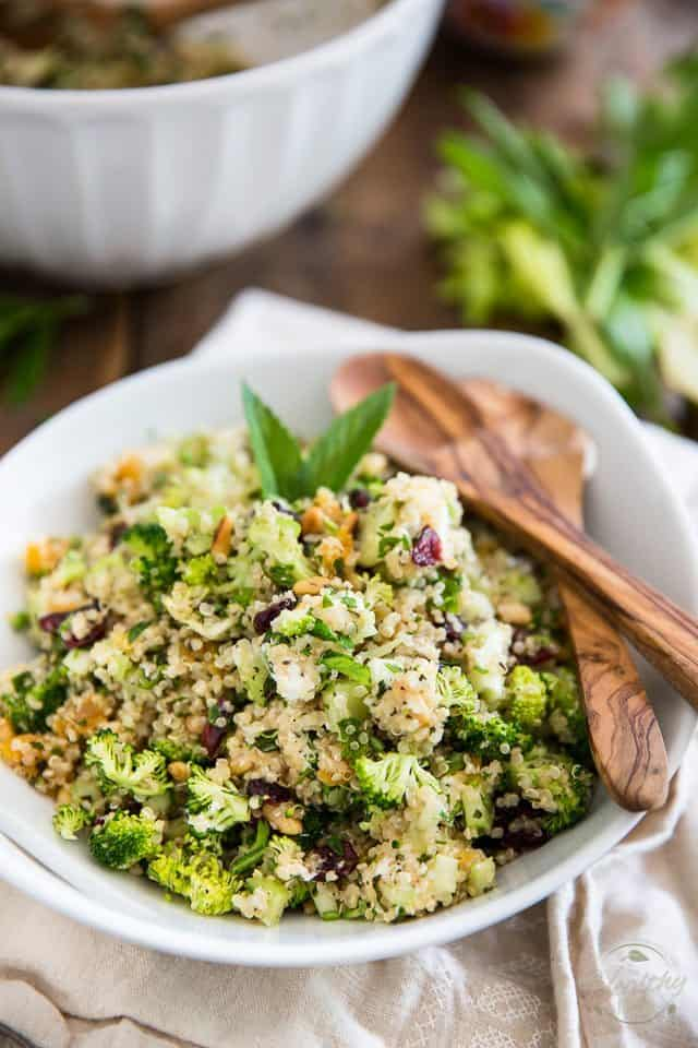 This delicious and highly nutritious cold Quinoa Broccoli Salad is a texture and flavor overload, thanks to tangy goat cheese, dried fruits and pine nuts!