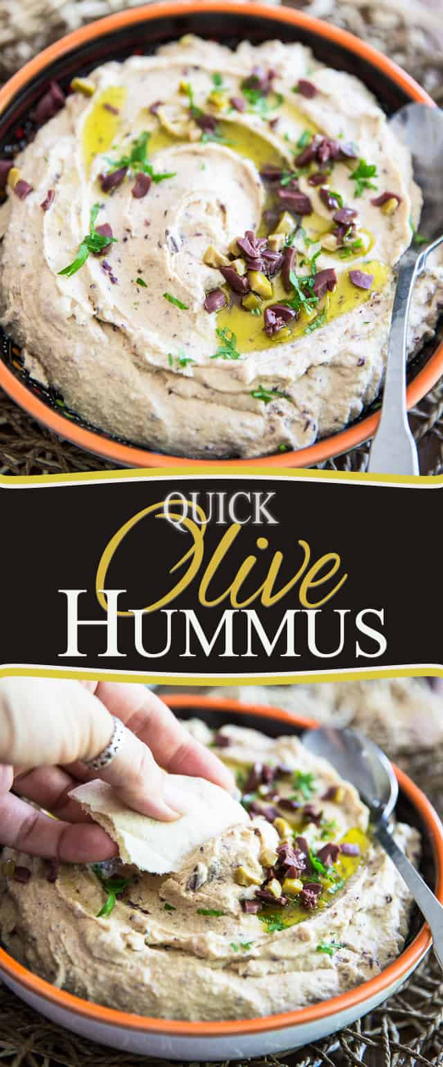 Quick Olive Hummus by Sonia! The Healthy Foodie | Step-by-step instructions on thehealthyfoodie.com