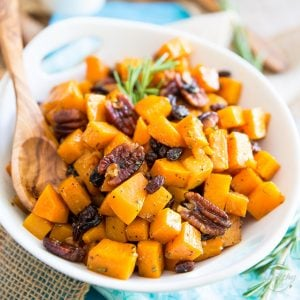 Candied Butternut Squash – With Pecans and Raisins