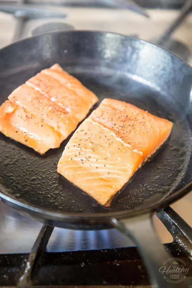 Salmon Fillet with Caramelized Pineapple by Sonia! The Healthy Foodie | Step-by-step instructions on thehealthyfoodie.com