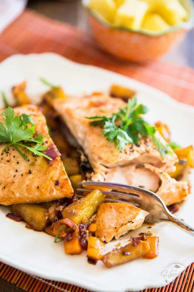 Salmon Fillet with Caramelized Pineapple