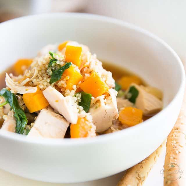 Butternut Squash Quinoa Chicken Soup • The Healthy Foodie