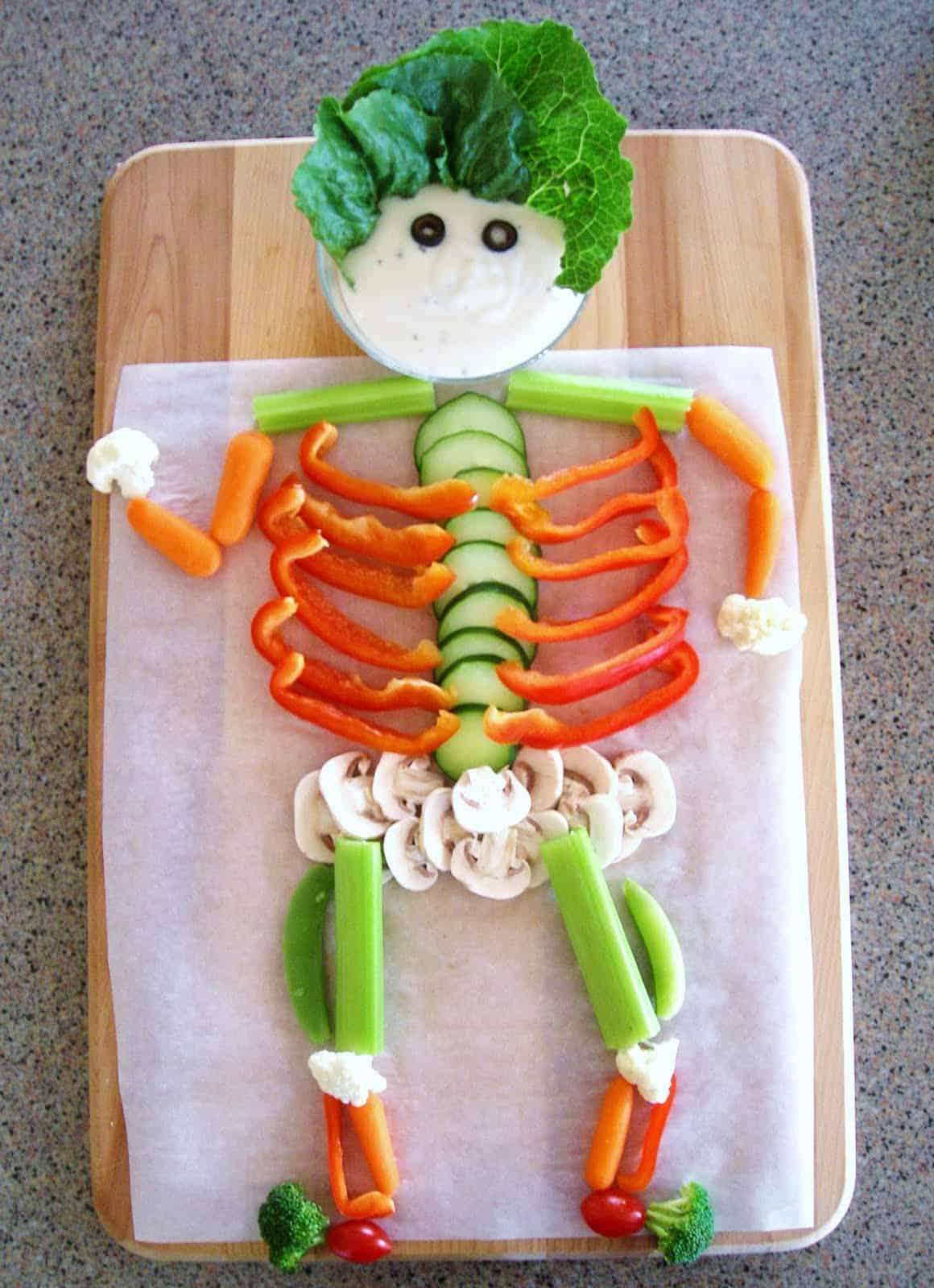 Healthy Halloween Recipe Ideas - Veggie Skeleton