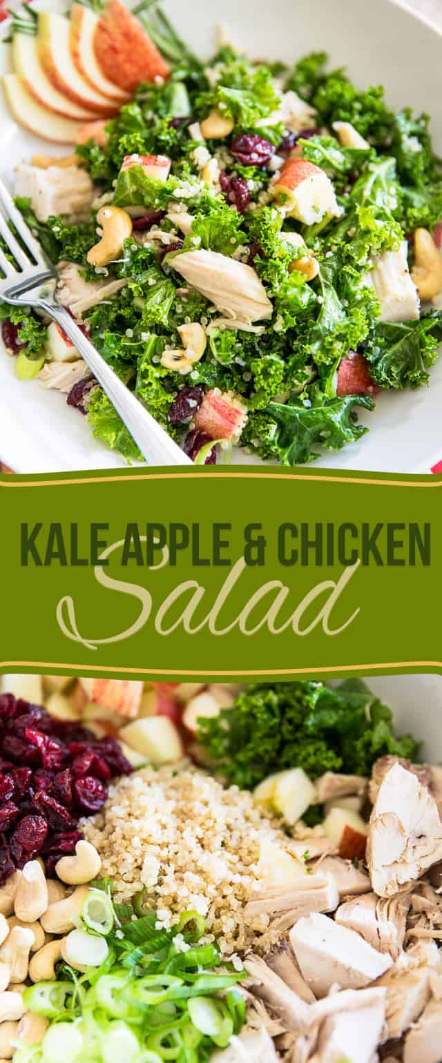 Salads don't get much healthier or tastier than this beautiful vibrant Kale Apple Chicken Salad! The secret to its deliciousness? Massage those kale leaves!