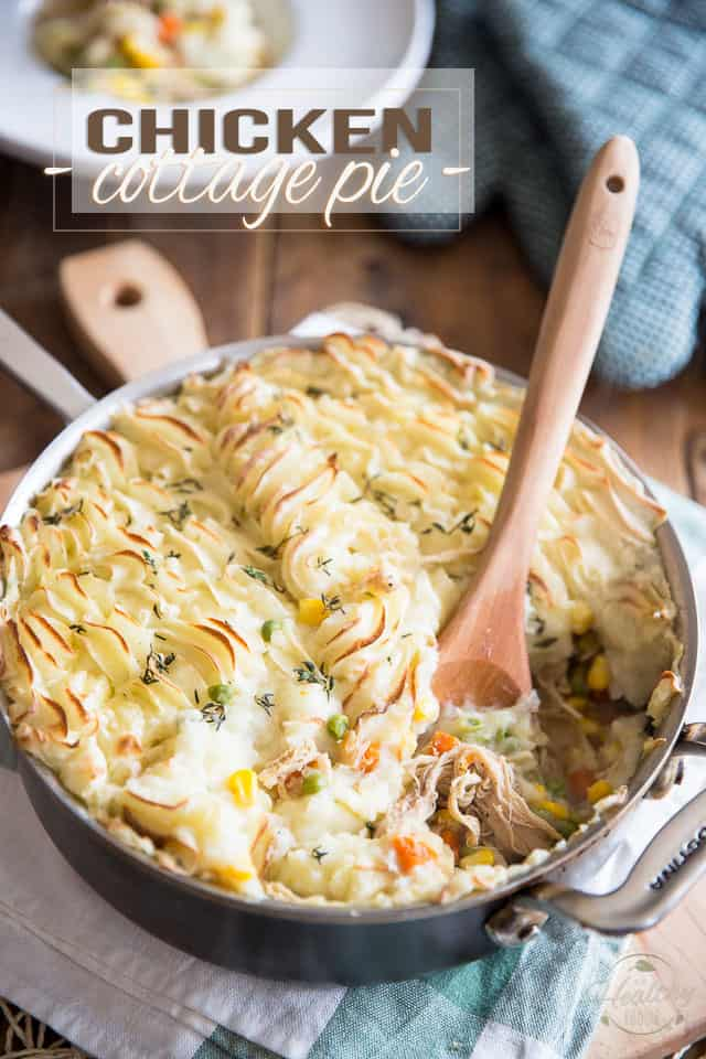 This Chicken Cottage Pie is a bit of a cross between 2 great classics: Chicken Pot Pie and Cottage Pie. You can't go wrong with that!