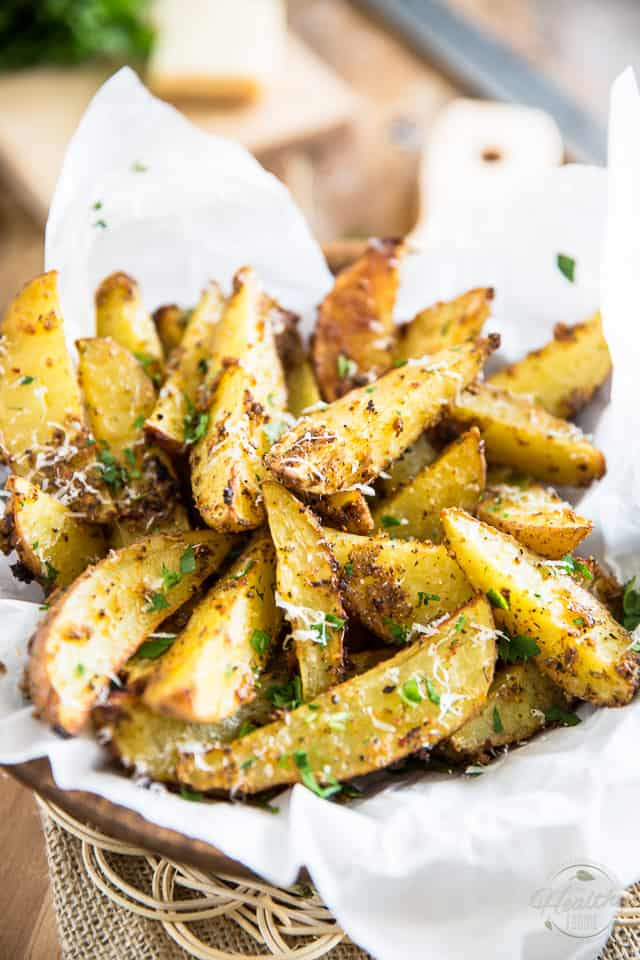 When the craving for French Fries strike, whip up a batch of these Oven Baked Garlic Parmesan Potato Wedges instead. They're MUCH better and tastier too!