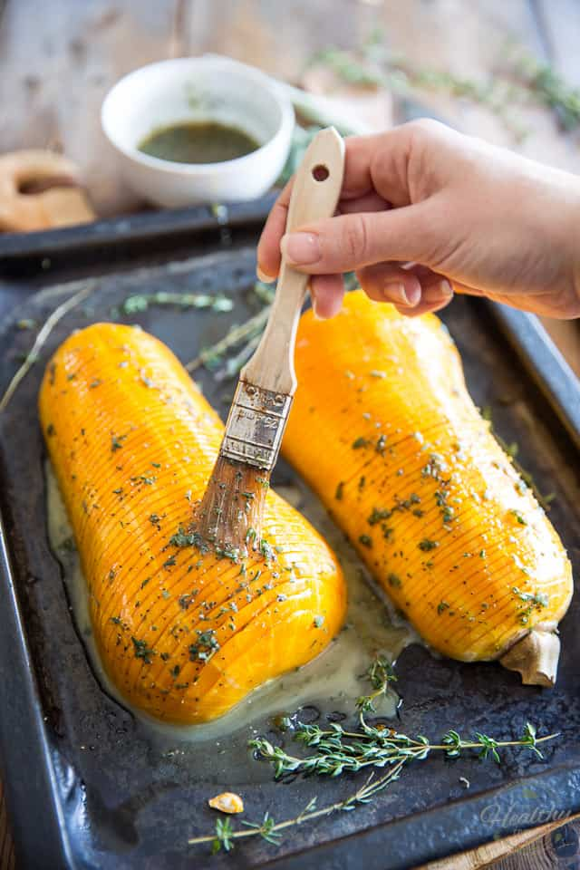 Honey Glazed Hasselback Butternut Squash by Sonia! The Healthy Foodie   recipe on thehealthyfoodie.com