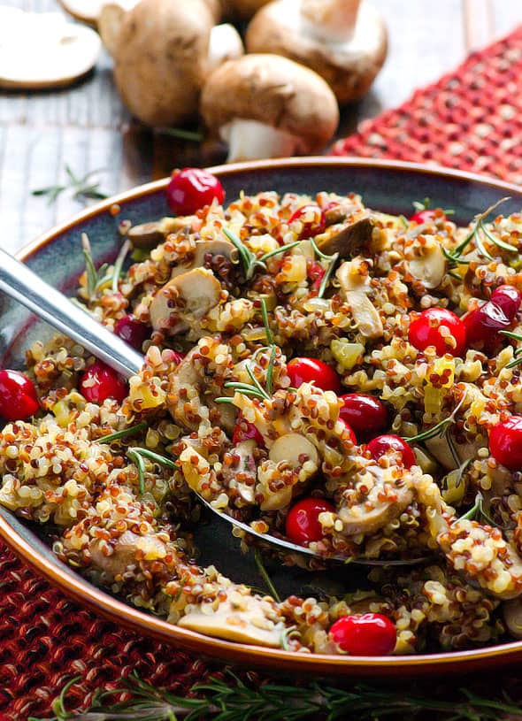 mushroom-rosemary-quinoa-stuffing-recipe-with-cranberries