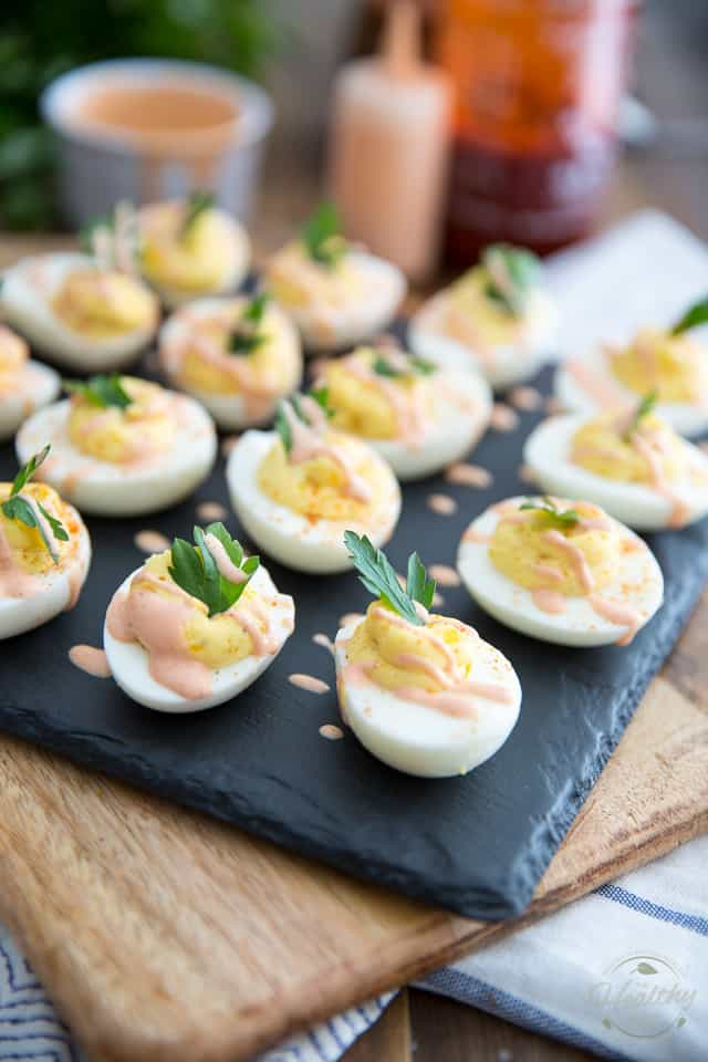 These delicious Easy Creamy Deviled Eggs are ready in just minutes and will probably disappear even faster than that!