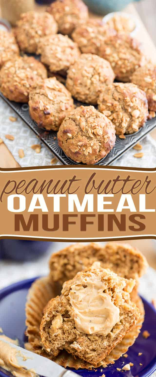 Naturally Sweetened Peanut Butter Oatmeal Muffins - No refined sugar added, made with nothing but nutritious, wholesome ingredients. Healthy and delicious!