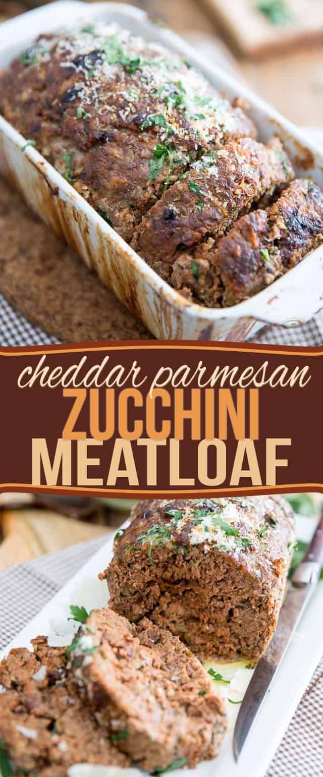 Grated zucchini, cheese and sun dried tomatoes make this Cheddar Parmesan Zucchini Meatloaf so moist and tasty, it will easily become a family favorite!