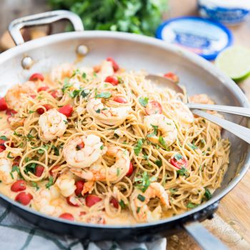 Creamy Goat Cheese Shrimp Pasta